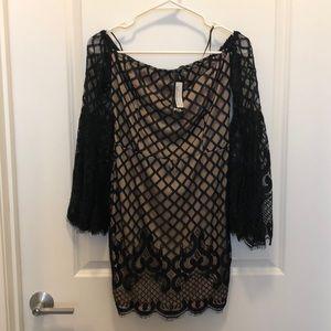 Beautiful lace mini dress/ off the shoulder.